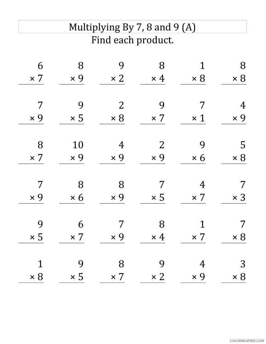 hight resolution of 3rd Grade Coloring Pages Educational Multiplication 7 8 9 Worksheets 2020  0273 Coloring4free - Coloring4Free.com