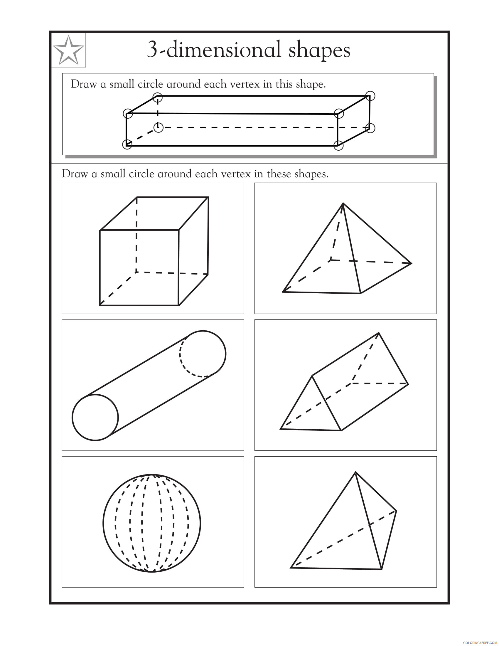 hight resolution of 4th Grade Coloring Pages Educational Math 3D Shapes Worksheets Print 2020  0308 Coloring4free - Coloring4Free.com