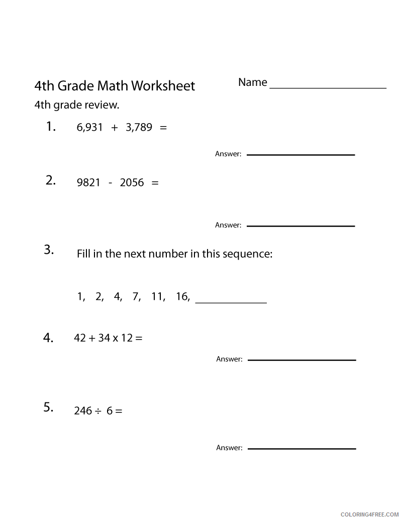hight resolution of 4th Grade Coloring Pages Educational Math Worksheet Printable 2020 0339  Coloring4free - Coloring4Free.com