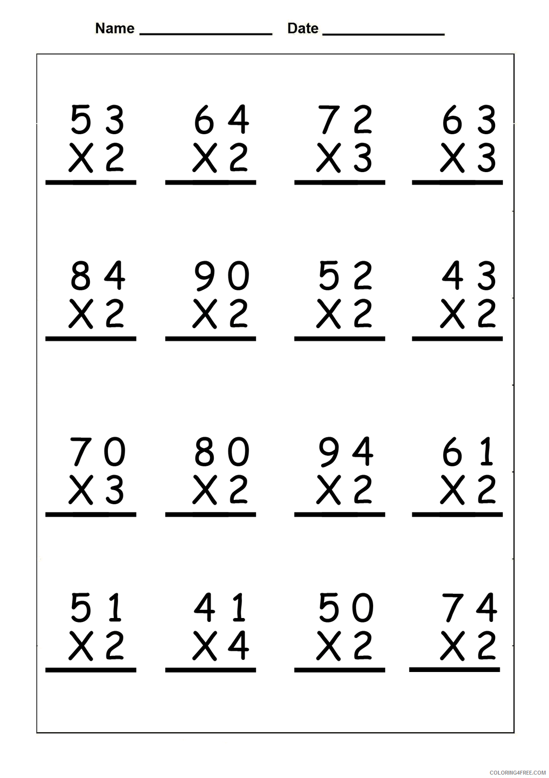 hight resolution of 4th Grade Coloring Pages Educational Math Worksheets Multiplication 2020  0347 Coloring4free - Coloring4Free.com