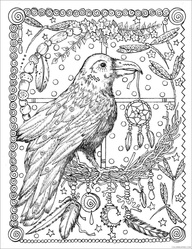 Adult Coloring Pages raven for adult Printable 18 18