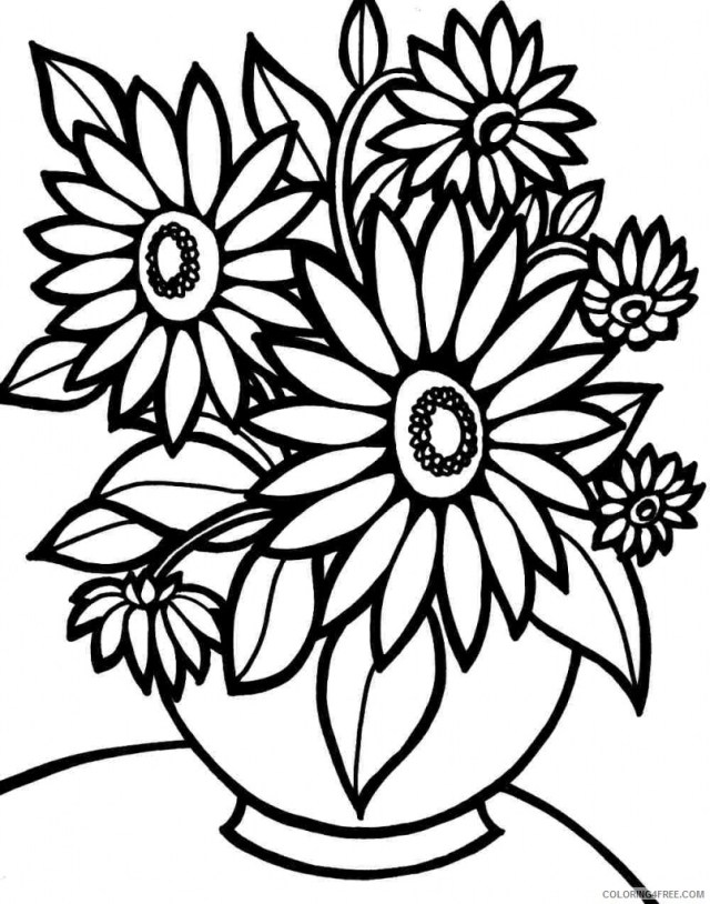 Printable Flower Coloring Pages Flowers Nature easy flower to