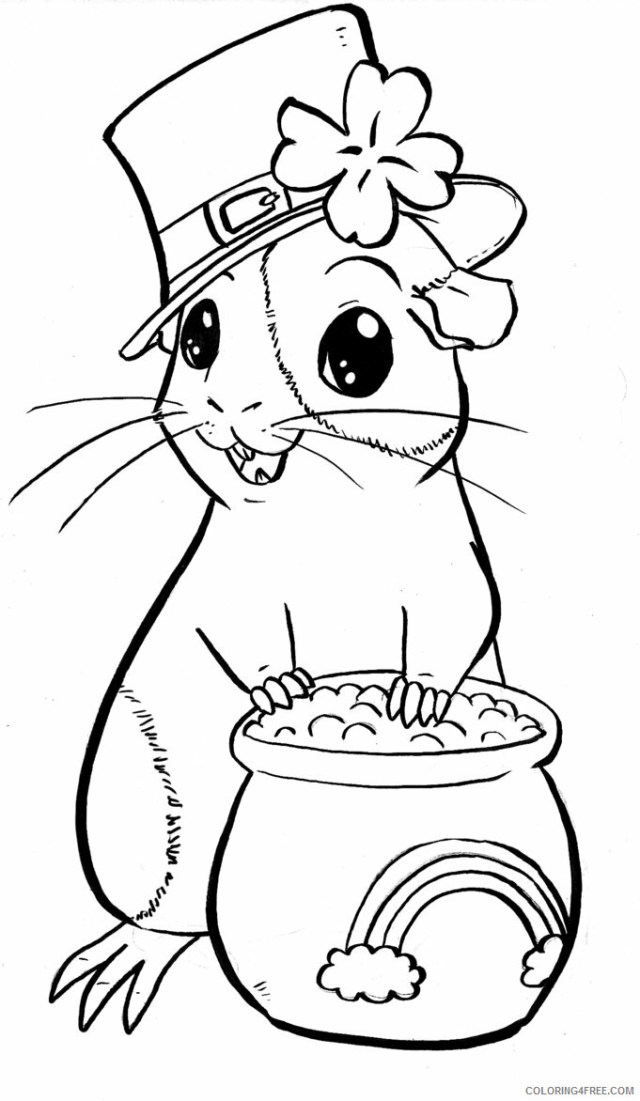 Guinea Pig Coloring Pages Animal Printable Sheets St Patricks