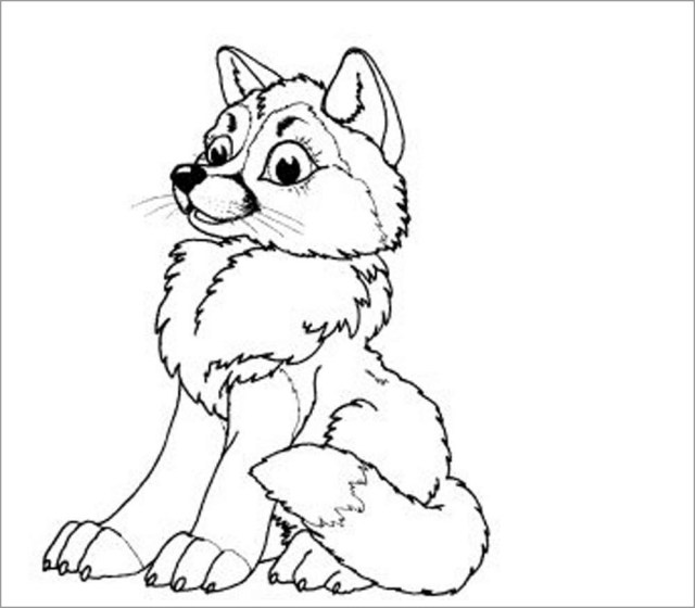 Baby Wolf Coloring Page for Kids - ColoringBay