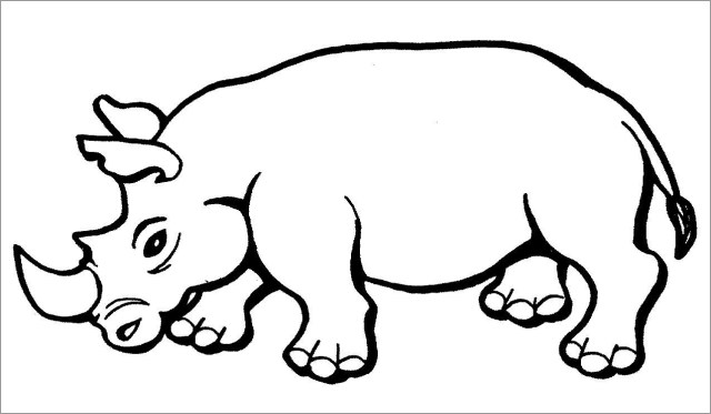 Easy Rhino Coloring Pages for Kids - ColoringBay