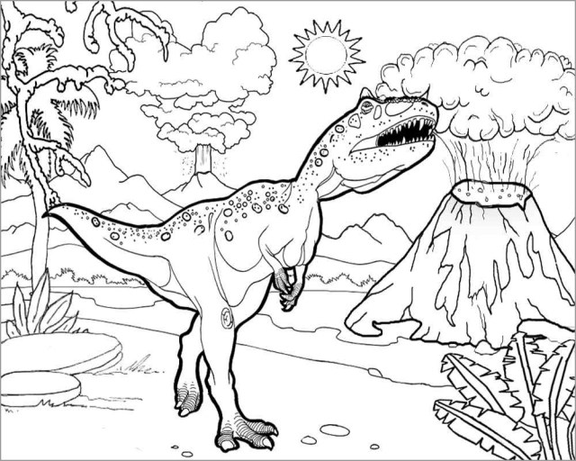 Jurassic Park Coloring Pages T Rex Spinosaurus - ColoringBay