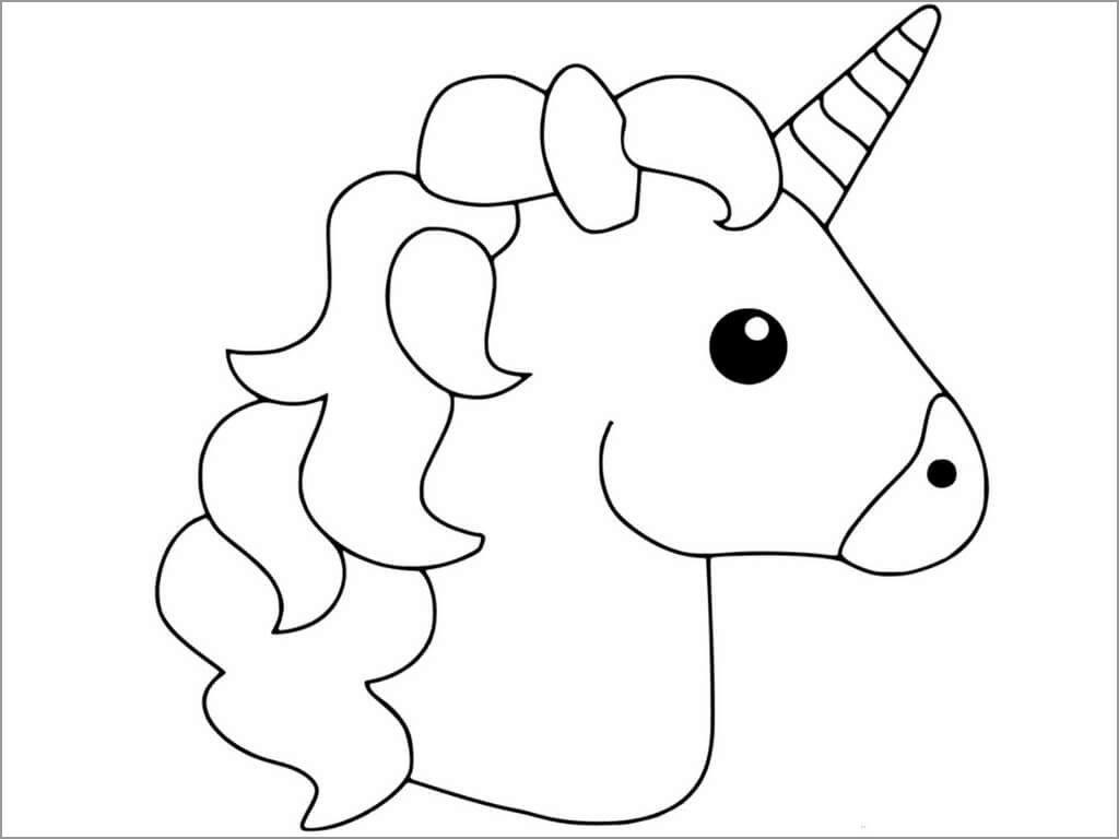 Unicorn Head Coloring Page Coloringbay