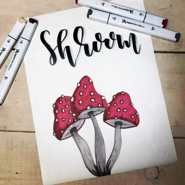 Mushroom Art for Aspire Colors  by Coloring Brittany Art