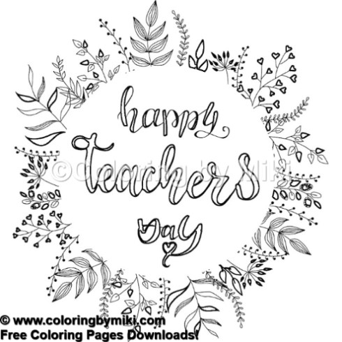 Happy Teachers Day Wreath Coloring Page #484