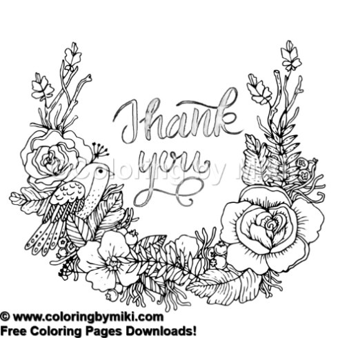 Thank You Note Flower Wreath Coloring Page #485