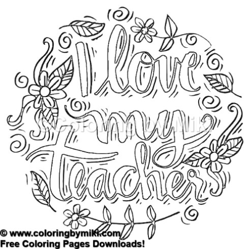 I Love My Teacher Flower Wreath Coloring Page #487