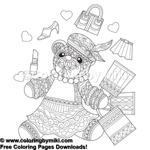 Zentangle Style Teddy Bear Shopping Coloring Page #579