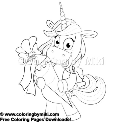 Cartoon Unicorn Present For You Coloring Page #594