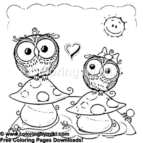 Funny Animal Owl Couple and Mushrooms Coloring Page #906
