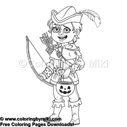 Halloween Girl in Robin Hood Costume Coloring Page #1095