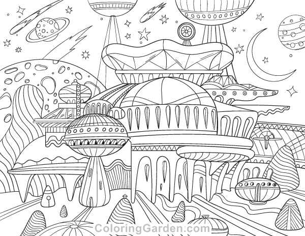 Alien City Adult Coloring Page