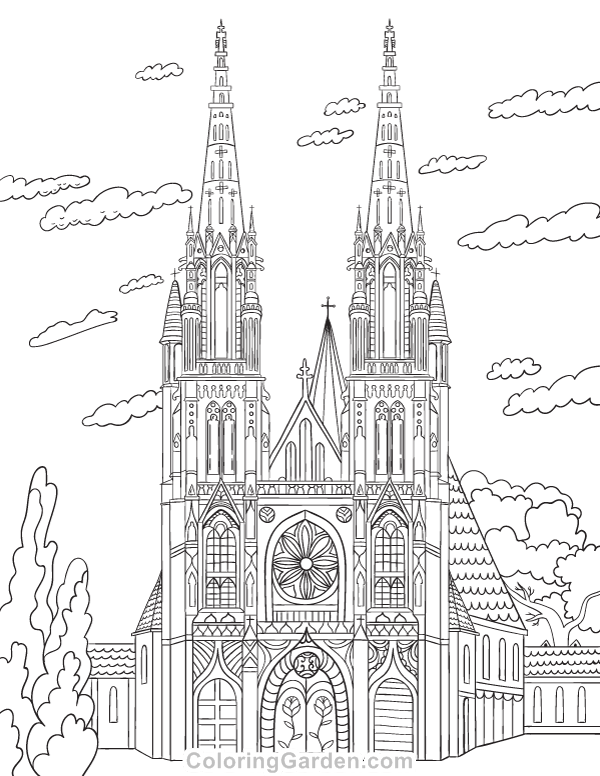 Cathedral Adult Coloring Page