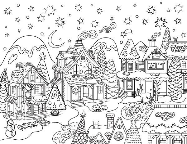 Christmas Village Adult Coloring Page