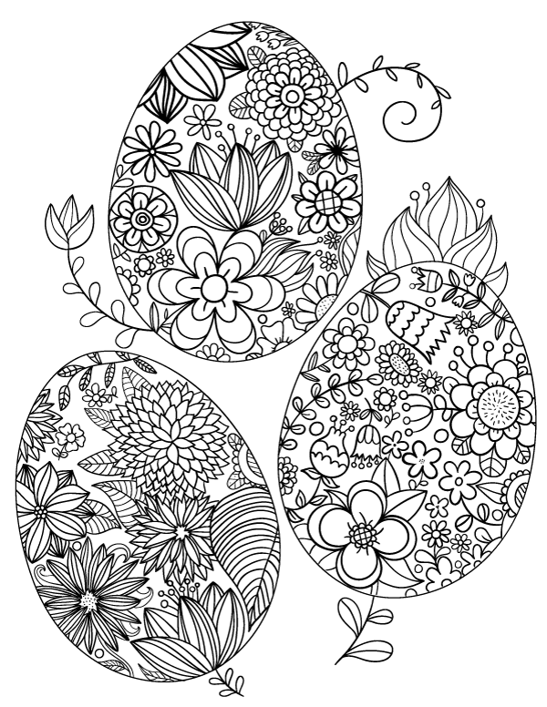 Floral Easter Egg Adult Coloring Page