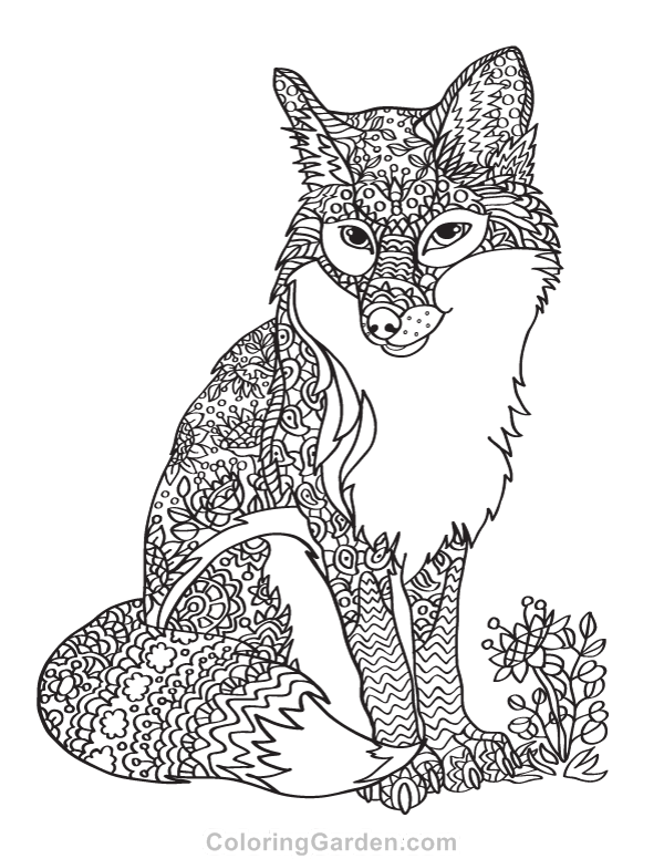 Fox Adult Coloring Page