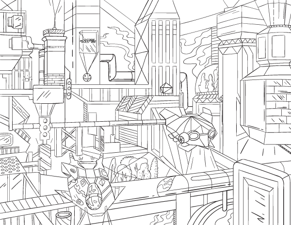 Futuristic Cityscape Adult Coloring Page