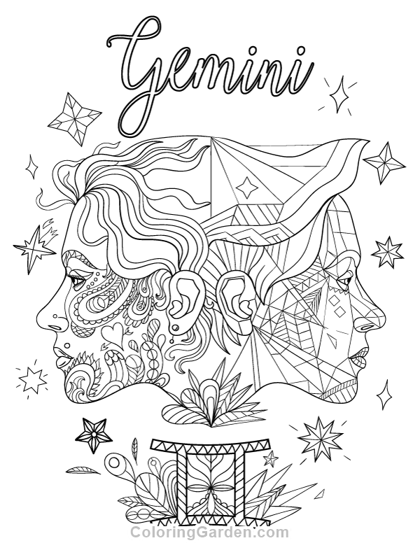 Gemini Adult Coloring Page