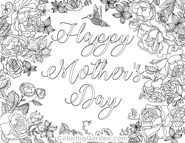 Happy Mother's Day Adult Coloring Page