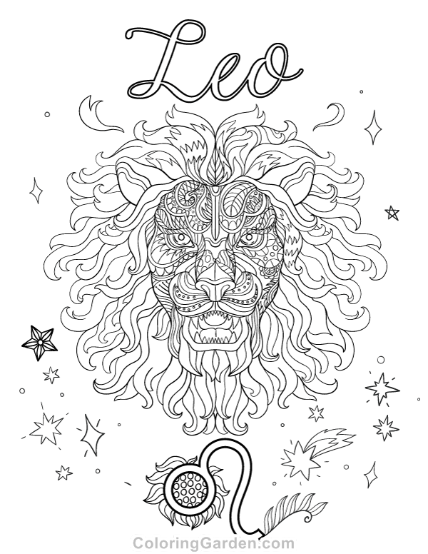 Leo Adult Coloring Page