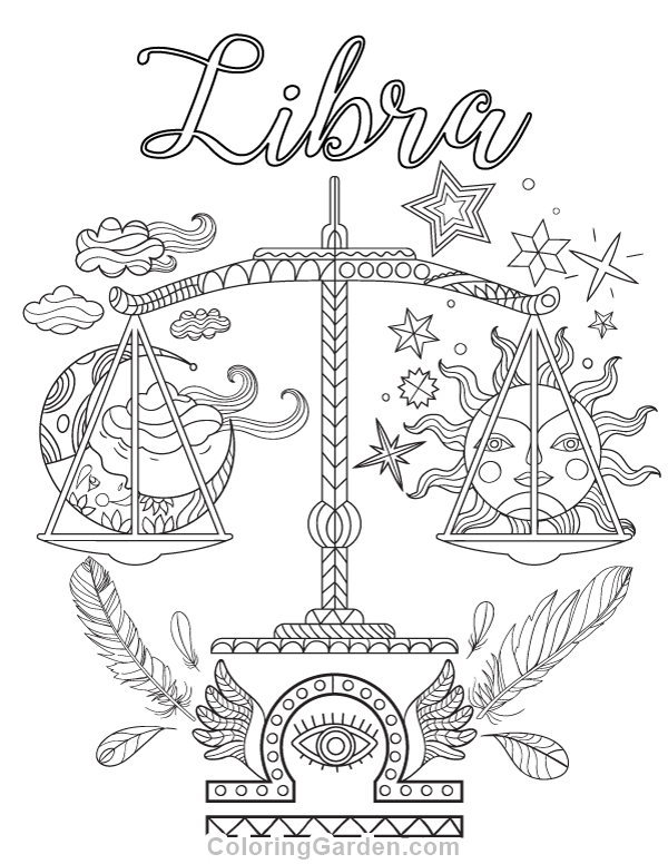 Libra Adult Coloring Page