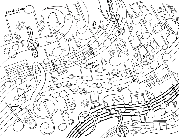 Music Swirl Adult Coloring Page