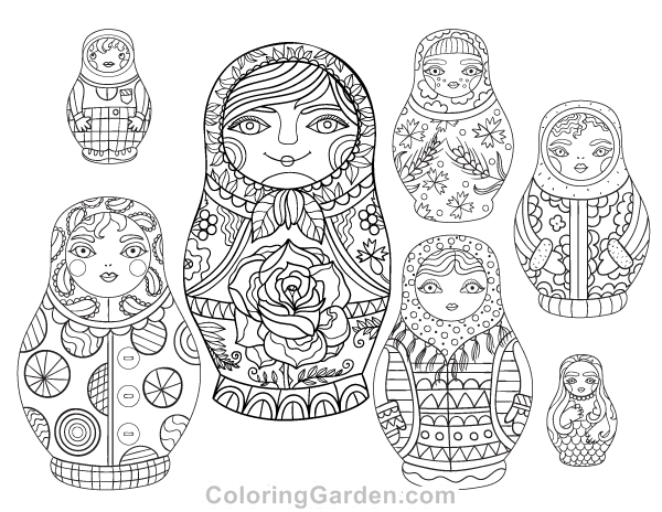 Russian Dolls Adult Coloring Page