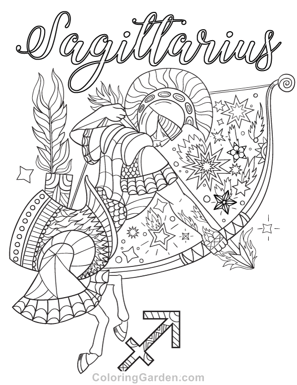 Sagittarius Adult Coloring Page