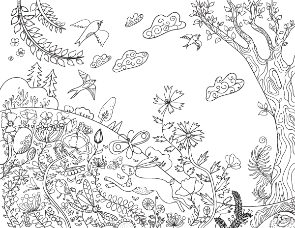 Spring Day Adult Coloring Page