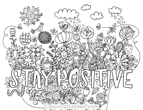 Stay Positive Adult Coloring Page