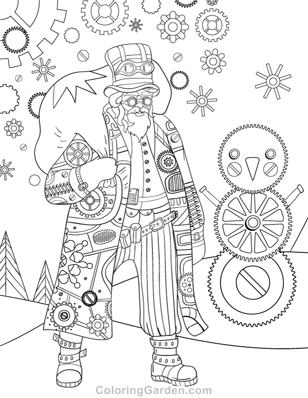 Steampunk Christmas Adult Coloring Page