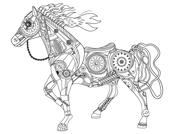 Steampunk Horse Adult Coloring Page