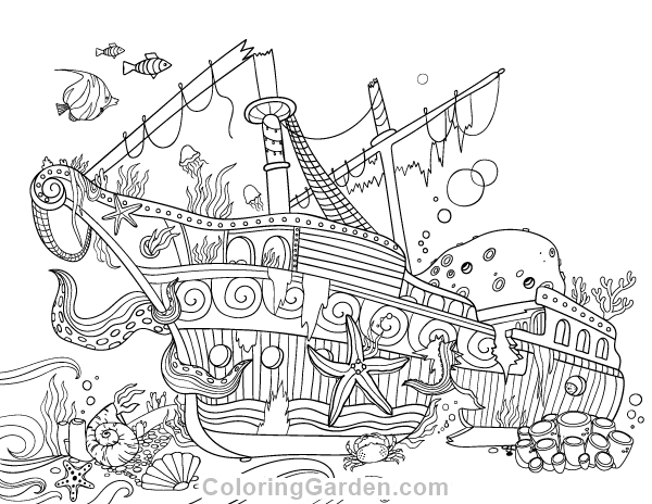 Sunken Ship Adult Coloring Page