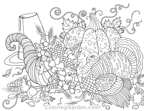Thanksgiving Adult Coloring Page