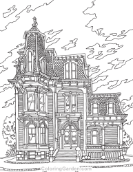 coloring pages victorian houses adult printable pdf drawing colouring print landscape coloringgarden format books sheets mansion cat medieval castles printables