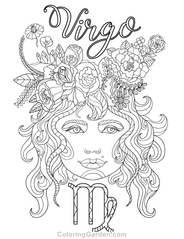 Virgo Adult Coloring Page