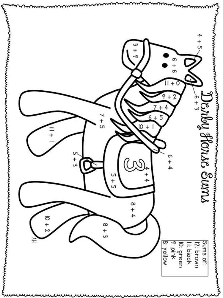Addition coloring pages for kids. Free printable Addition