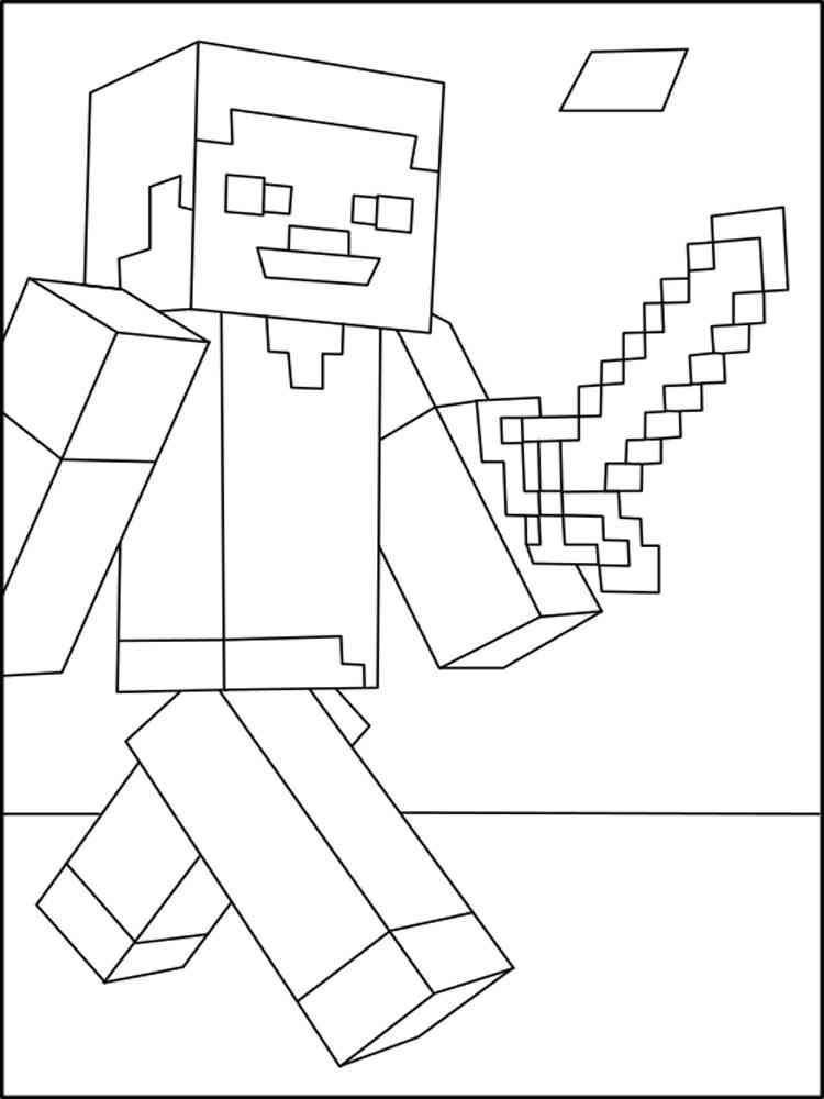 Ausmalbilder Minecraft Steve - Malvorlagen Kostenlos zum