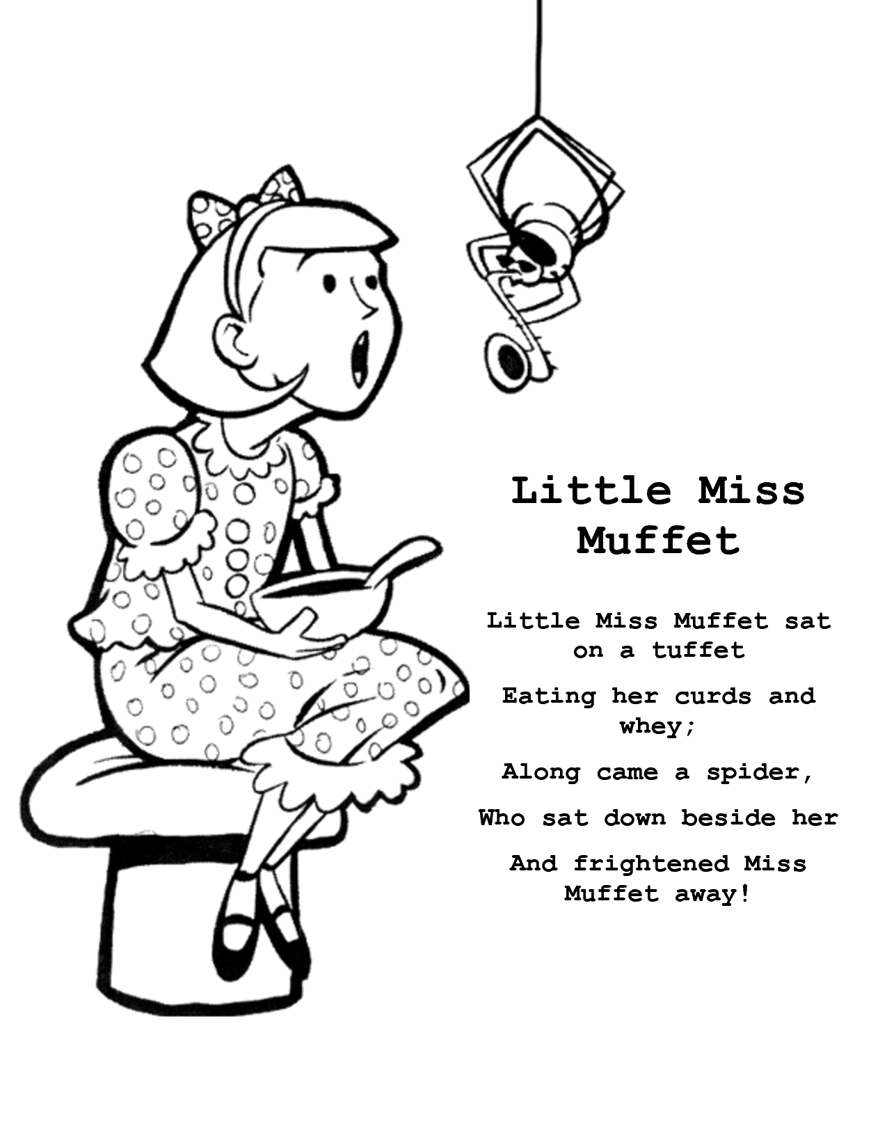 Little Miss Muffet Coloring Pages