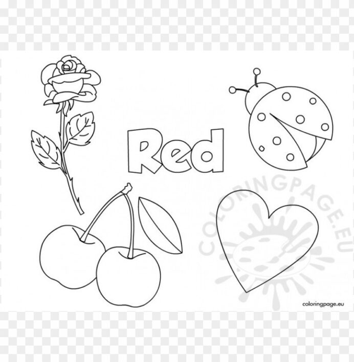 Color Red Coloring Sheet Image With Transparent Background