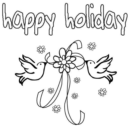 Happy Holidays Colouring Page Sketch Coloring Page