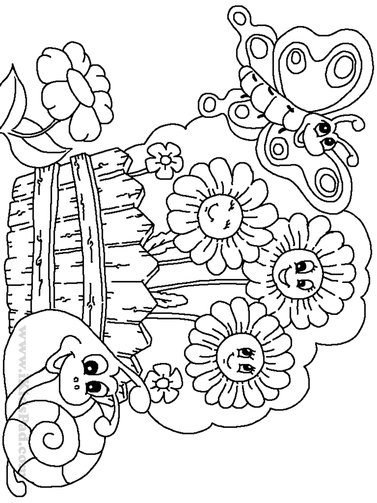 Butterfly Gareden Free Coloring Pages, Preschool