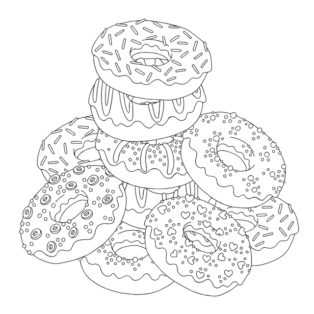 Donut Coloring Pages - Coloring Home