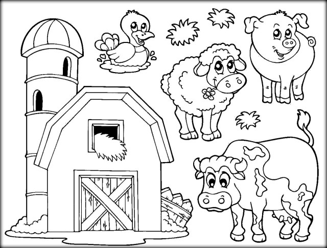 Coloring Pages : Farm Animal Coloring Book Images Printable Pages