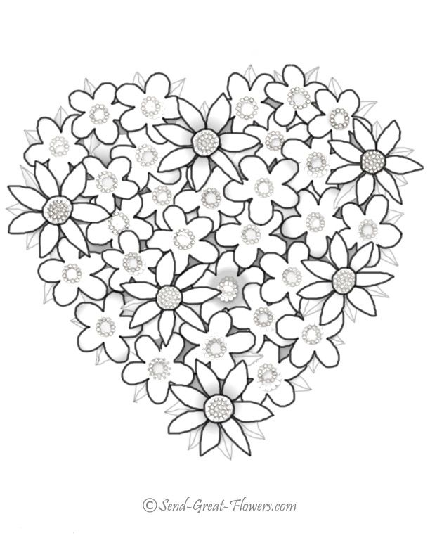 Coloring Pages Of Hearts And Flowers : coloring, pages, hearts, flowers, Coloring, Pages, Hearts, Flowers, Printable