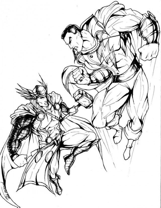 Coloriage Avengers Thor Vs Hulk Dessin Auto Electrical